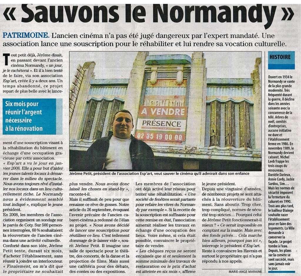 """Cinéma """" Le Normandy """" au Havre : Projet de Reprise 2009-110"""
