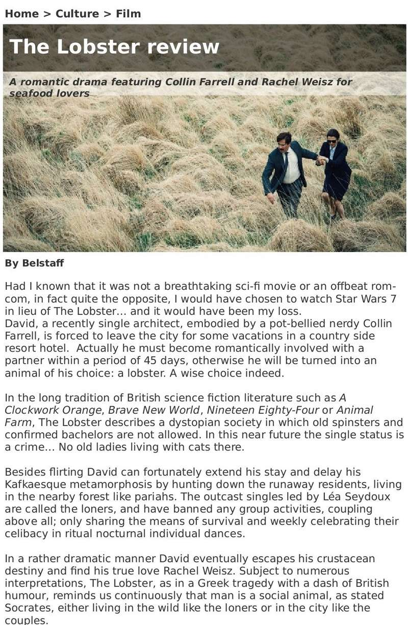The Lobster avec Colin Farrell Review10