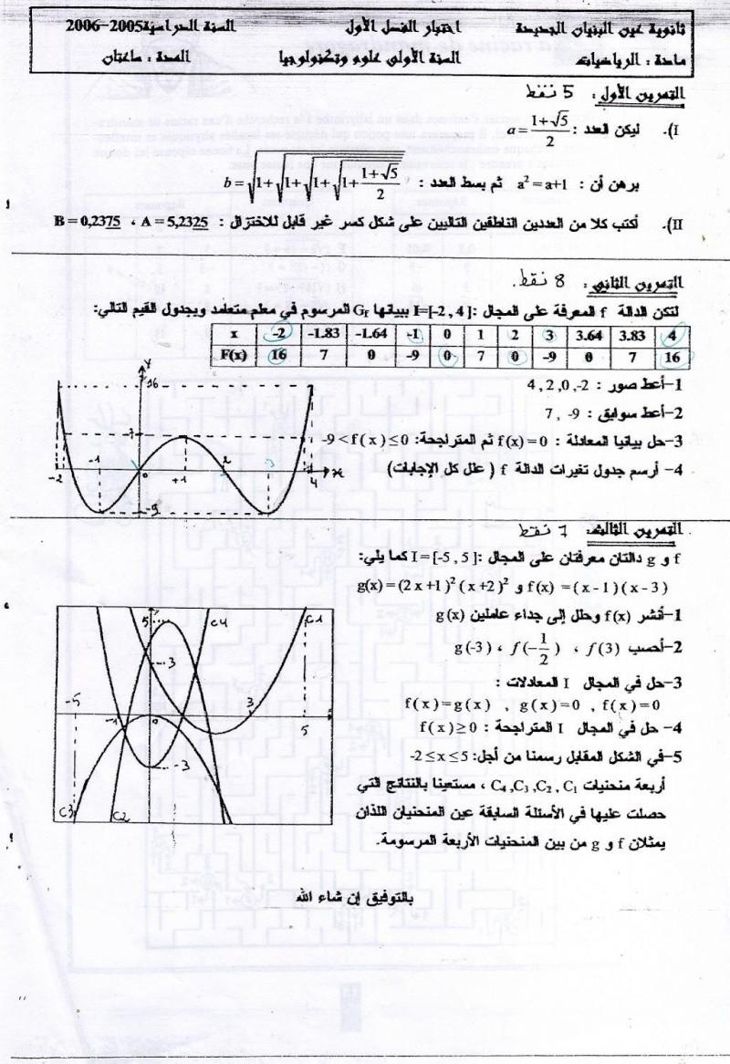 اختبار الفصل الاول في مادة الرياضيات السنة الاولى علوم وتكنولوجيا 123410