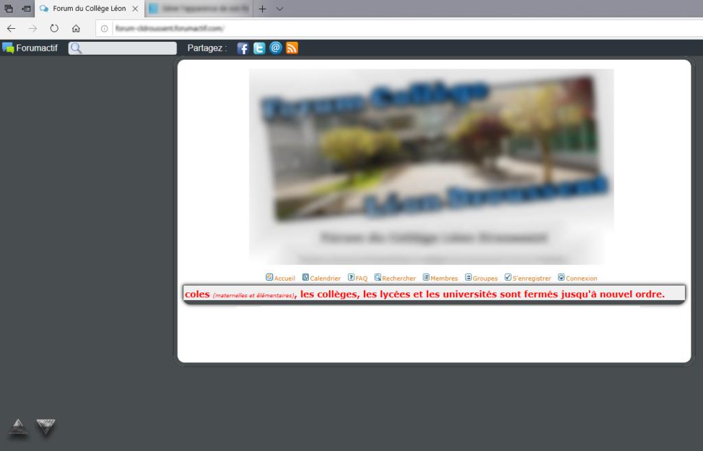 Page d'accueil indisponible aussi bien sur mon forum qu'ici... Pb111