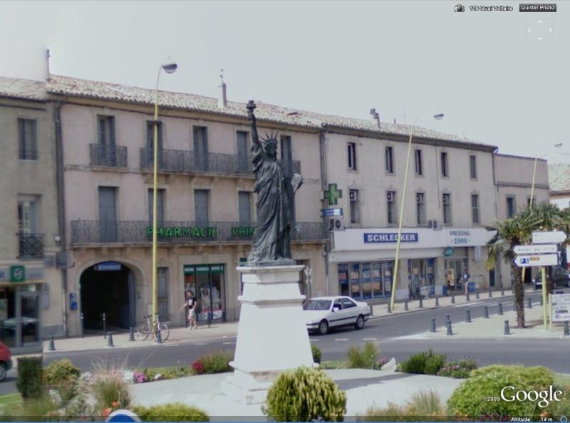 Statue de la Liberté = les répliques découvertes grâce à Google Earth Sllune11