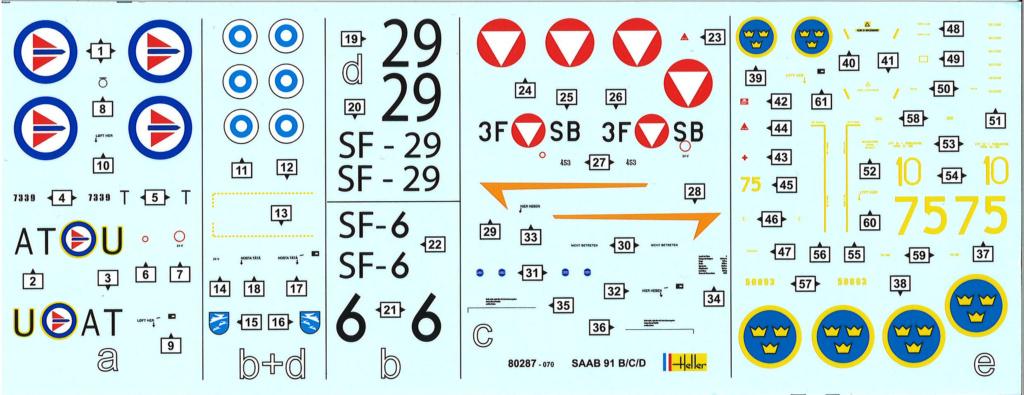 SAAB 91 C SAFIR SF-6 Ecole de pilotage de l'armée de l'air finlandaise 1970 Réf 80287  Decals13
