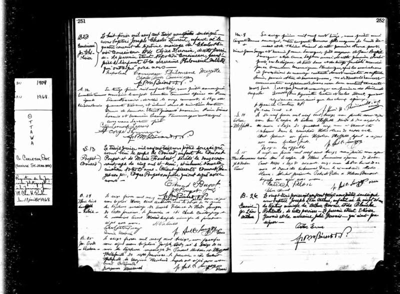 Date du mariage d'Ovide Dubois et Marguerite Bleau Baptem10