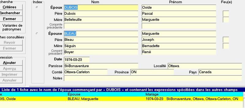 Date du mariage d'Ovide Dubois et Marguerite Bleau Dubois10