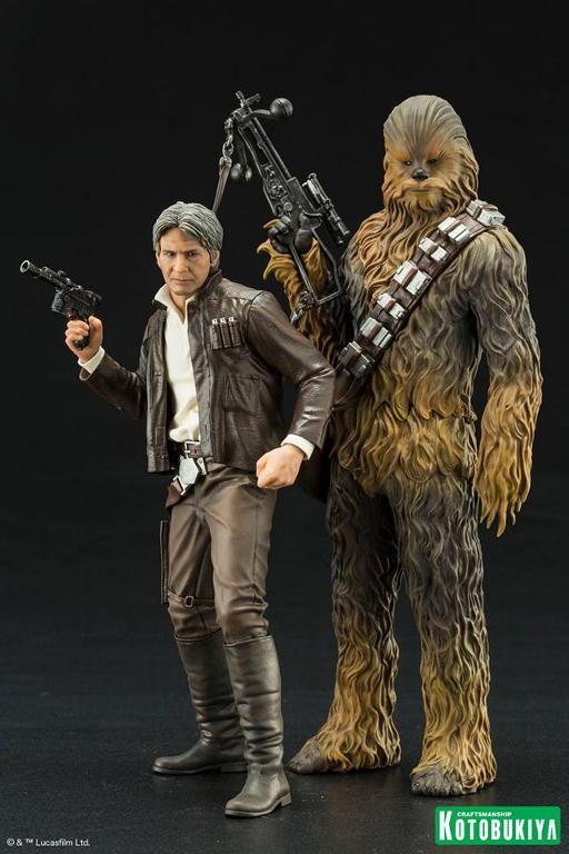 Kotobukiya - The Force Awakens Han & Chewbacca ARTFX+ Pack  Hanche11