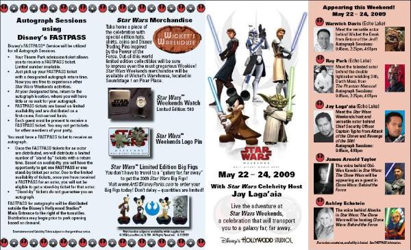 Star Wars Weekends 2009 Disney's Hollywood Studios Prog2210