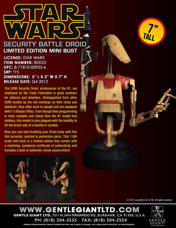 Gentle Giant - Red OOM Security Battle Droid - Minibust Red0410