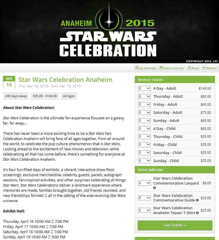 Star Wars Celebration ANAHEIM Ticket10