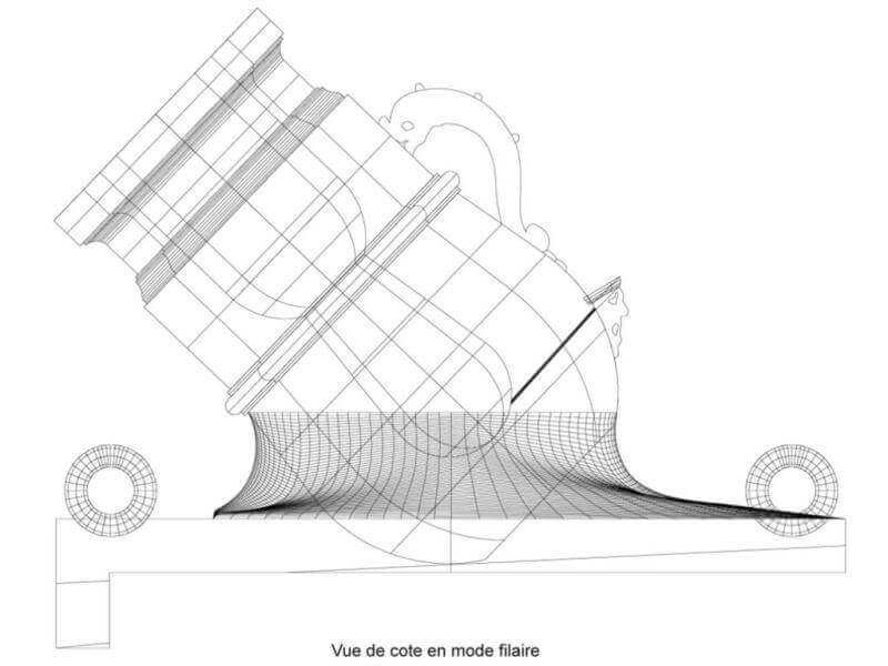 """Réalisation des mortiers de 12 à plaque pour """"La Salamandre"""" 1752. Mosa_210"""