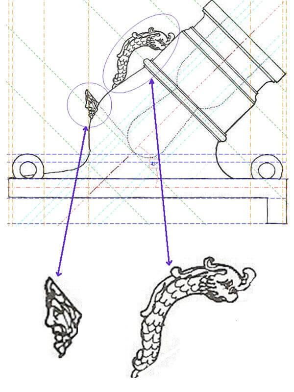 """Réalisation des mortiers de 12 à plaque pour """"La Salamandre"""" 1752. Mosa_511"""
