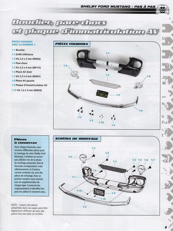 Shelby GT500 - 1967 - 1/8ème - Kit métal - Fascicules Altaya She00013
