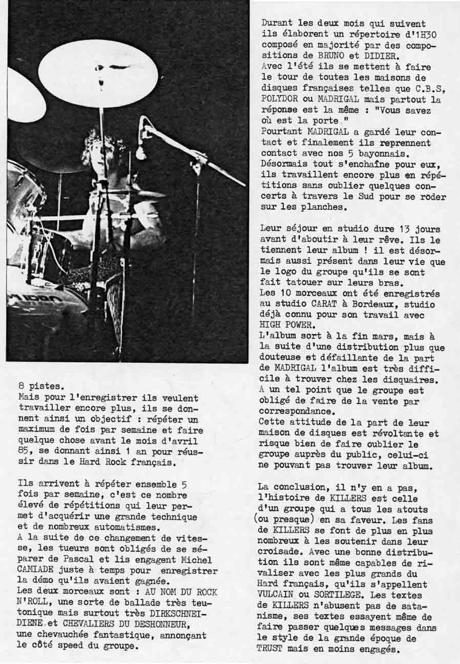 Interview KILLERS dans ÉCLATS DE METAL (MAI 1985) (Archive) Eclats14