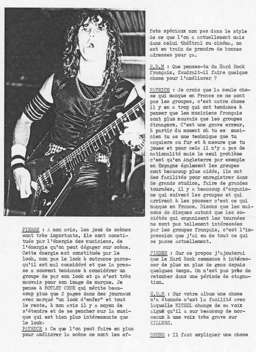 Interview KILLERS dans ÉCLATS DE METAL (MAI 1985) (Archive) Eclats15