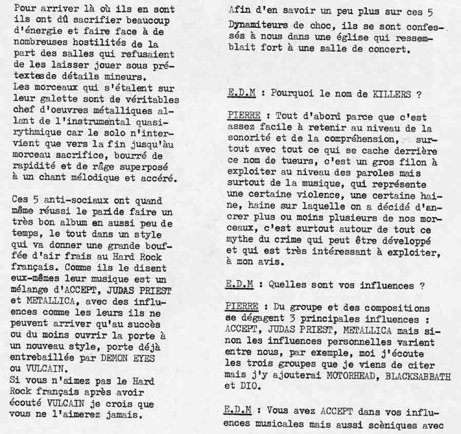 Interview KILLERS dans ÉCLATS DE METAL (MAI 1985) (Archive) Eclats17