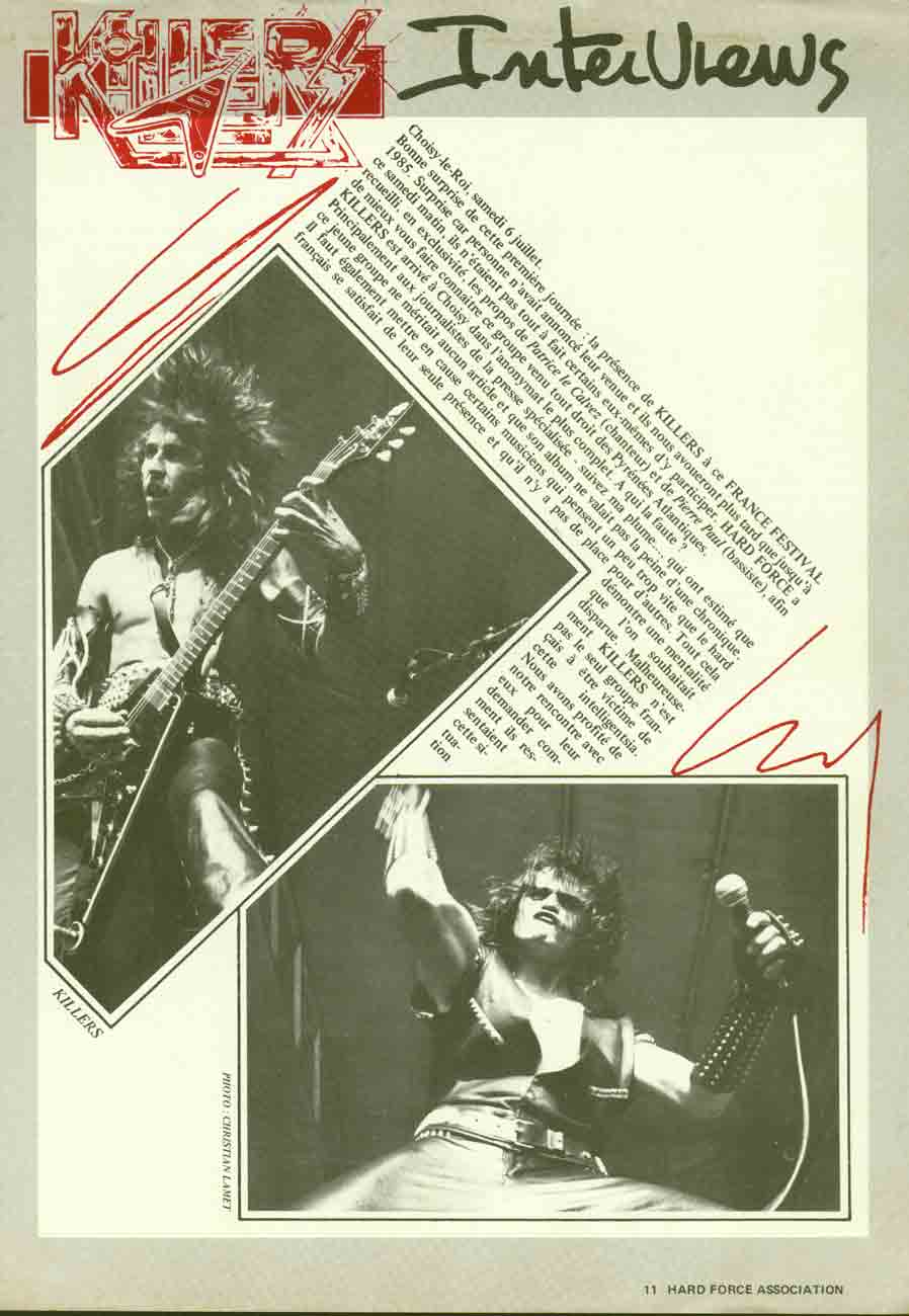 Interview KILLERS Hard-Forces Magazine Octobre/Novembre 1985 (Archive) Hard-f10