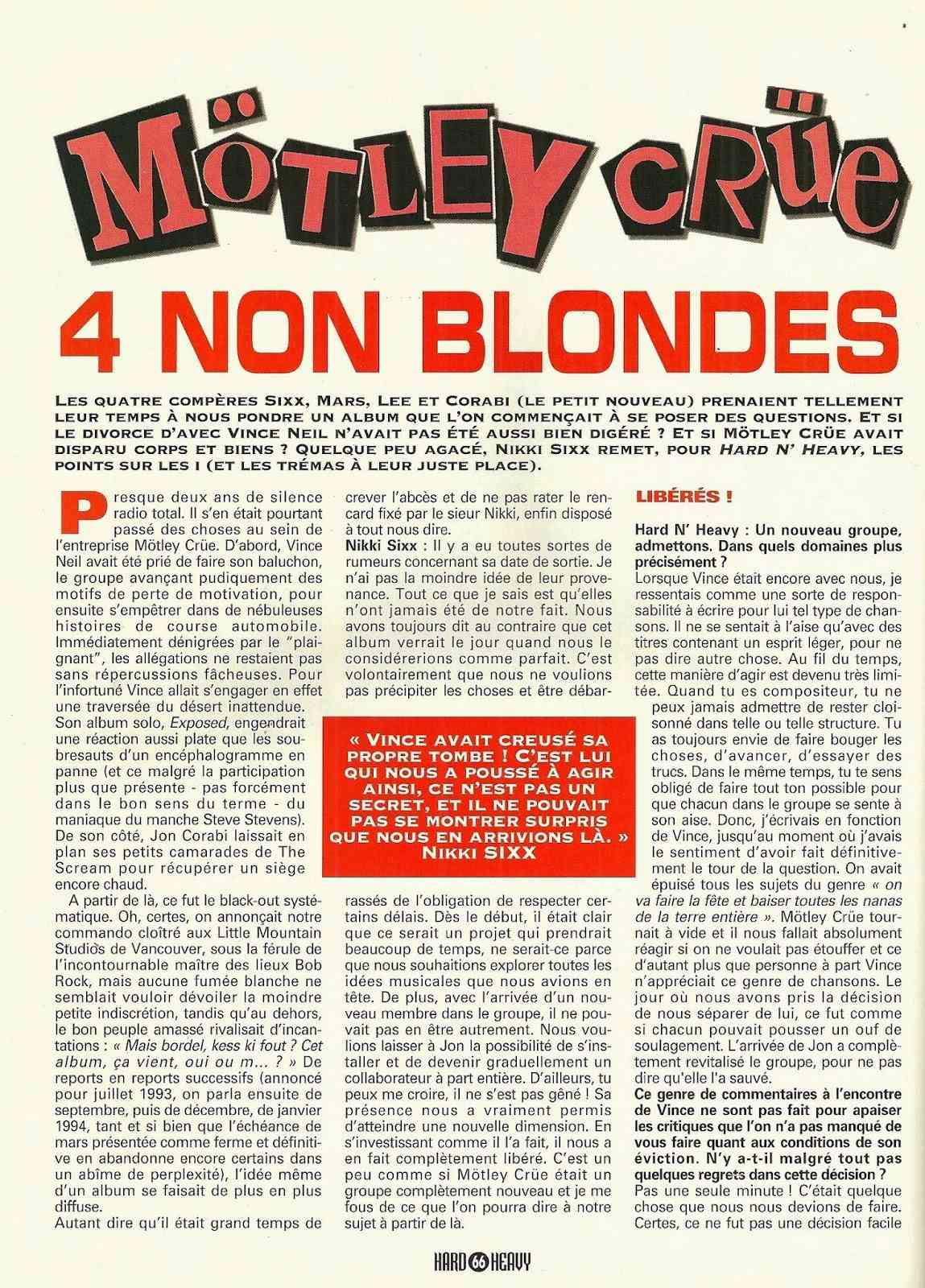 "MOTLEY CRÜE 4 non blondes ""Hard & Heavy"" Mars 1994 (ARCHIVE) Numyri18"