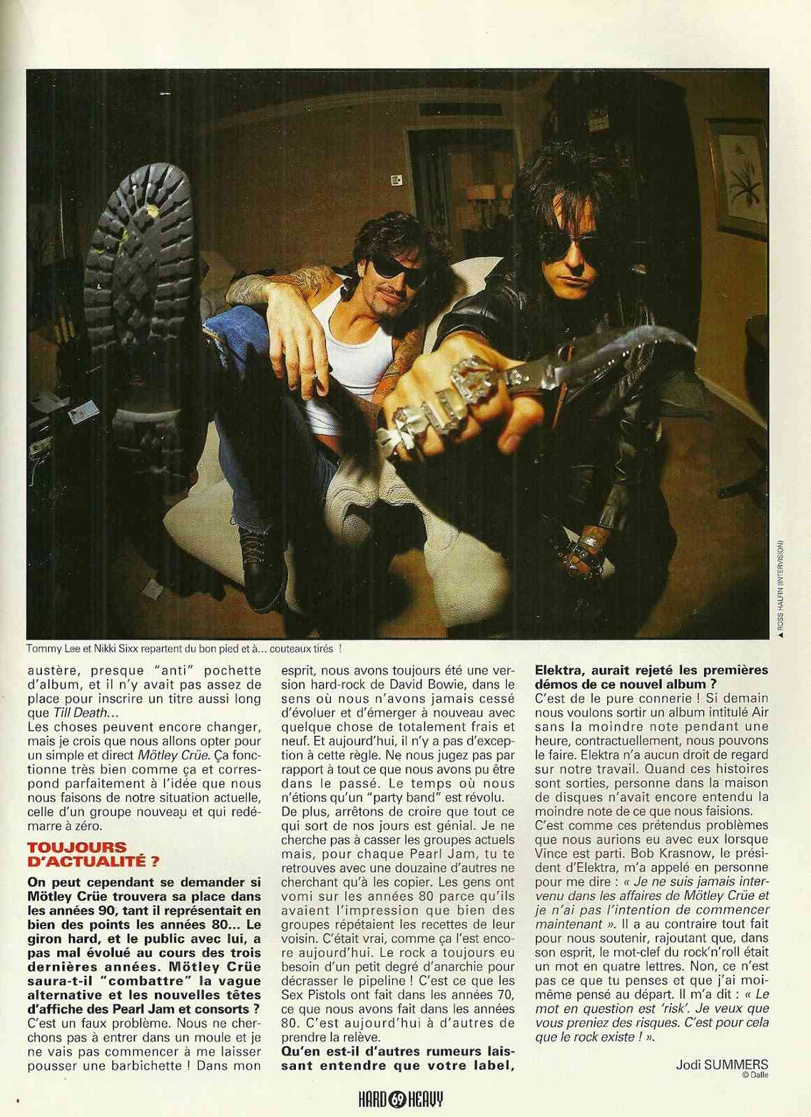 "MOTLEY CRÜE 4 non blondes ""Hard & Heavy"" Mars 1994 (ARCHIVE) Numyri21"
