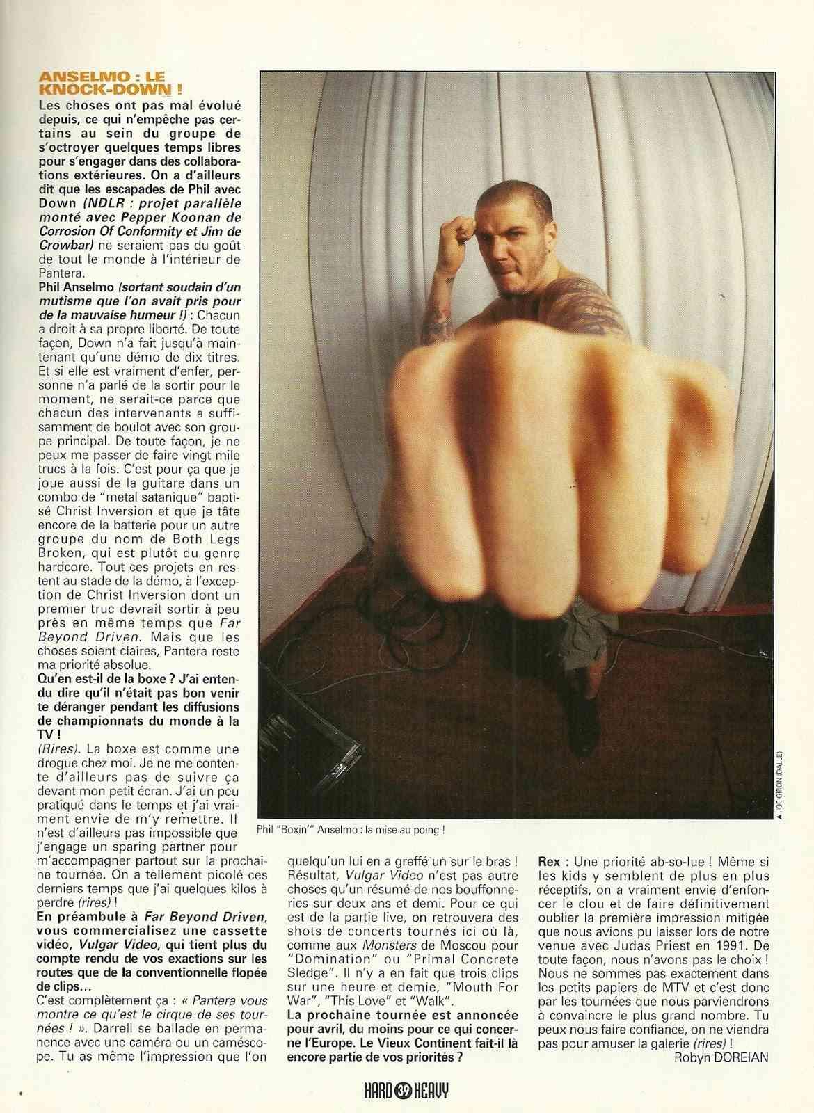 """PANTERA Les crocs acérés """"Hard & Heavy"""" Mars 1994 (ARCHIVE) Numyri25"""