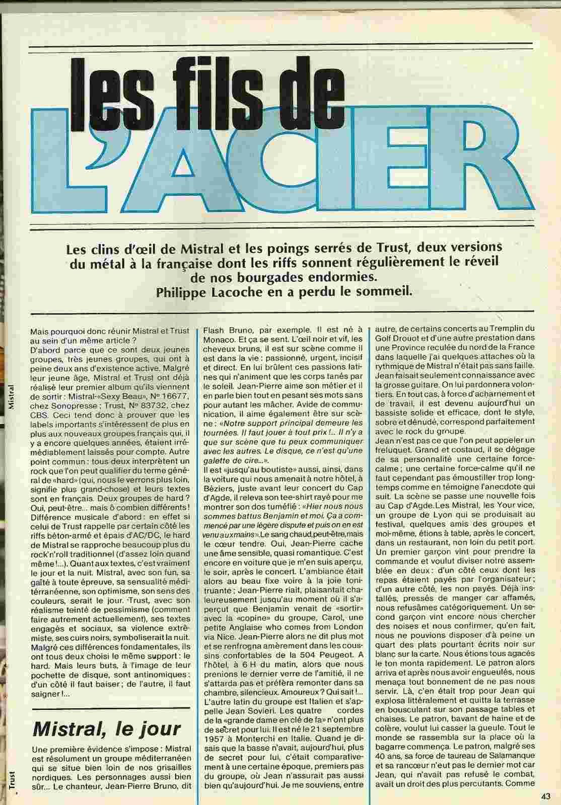 """Les Fils de l'Acier Mistral/Trust """"Best"""" octobre 1979 (Archive) Numyri26"""