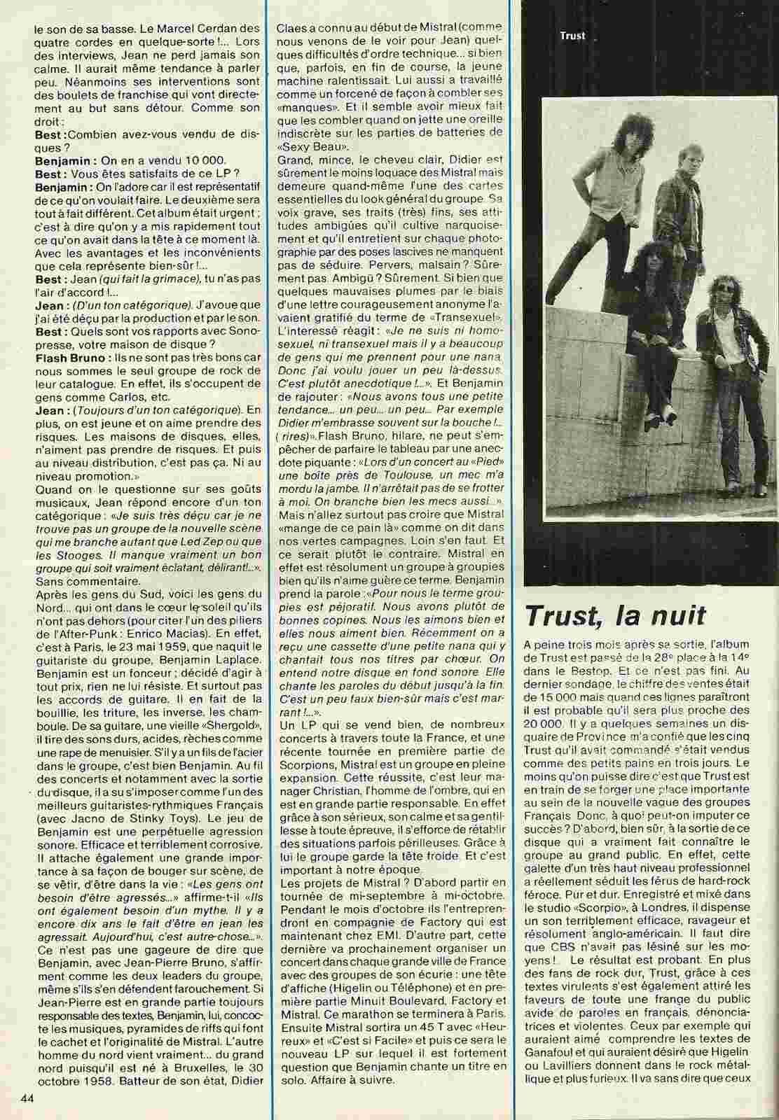"""Les Fils de l'Acier Mistral/Trust """"Best"""" octobre 1979 (Archive) Numyri27"""