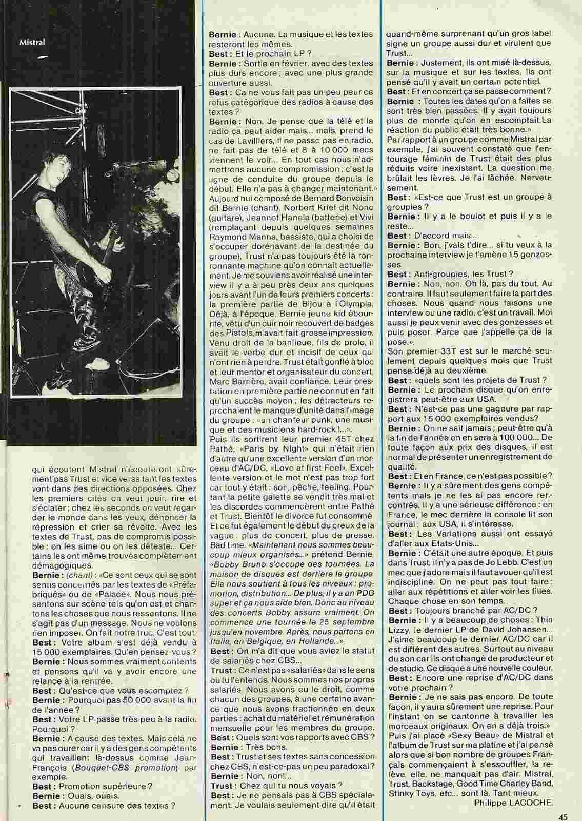 """Les Fils de l'Acier Mistral/Trust """"Best"""" octobre 1979 (Archive) Numyri28"""