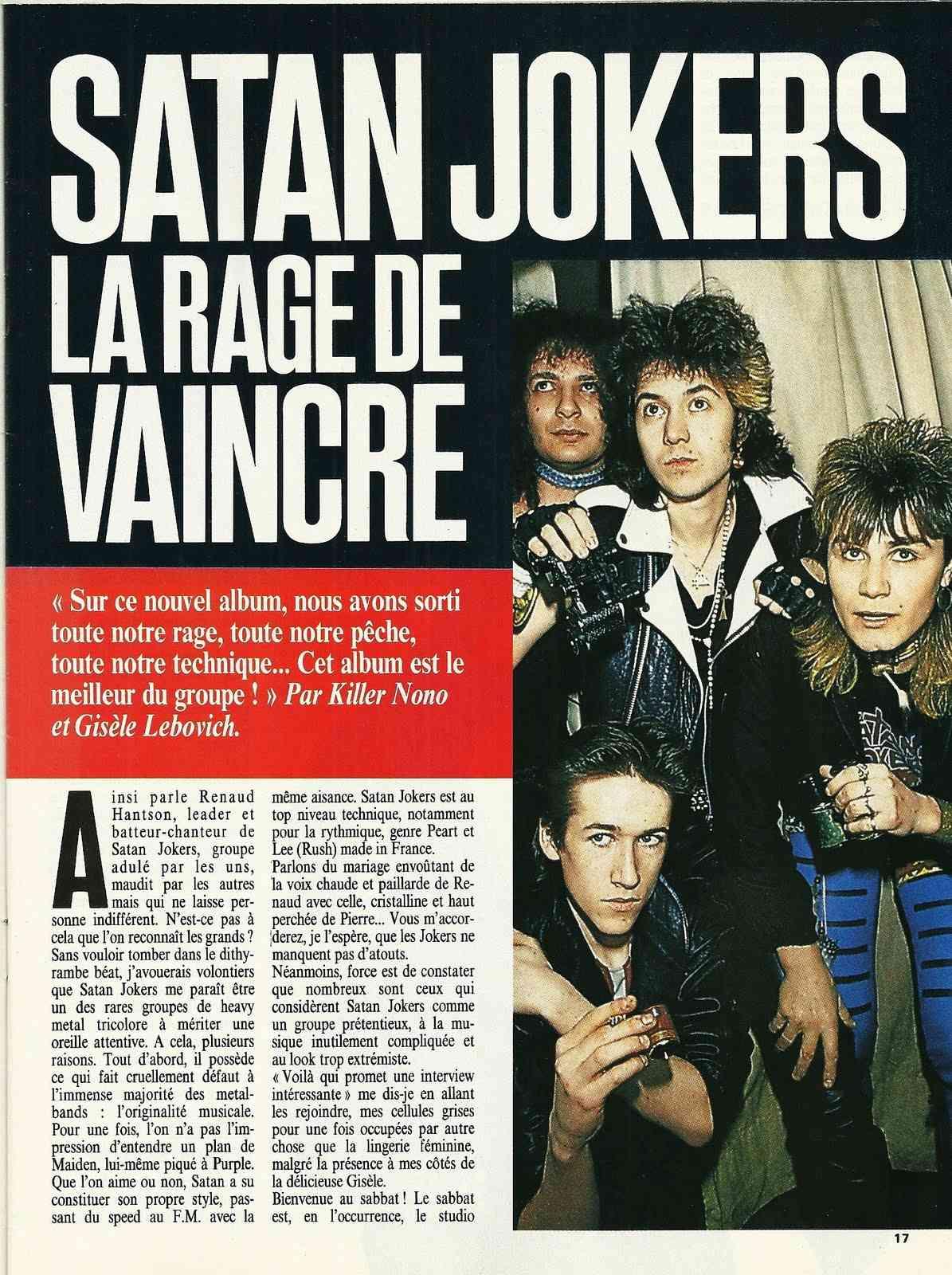 "SATAN JOKERS La rage de vaincre (""Metal Attack"" Mai 1985) Numyri50"