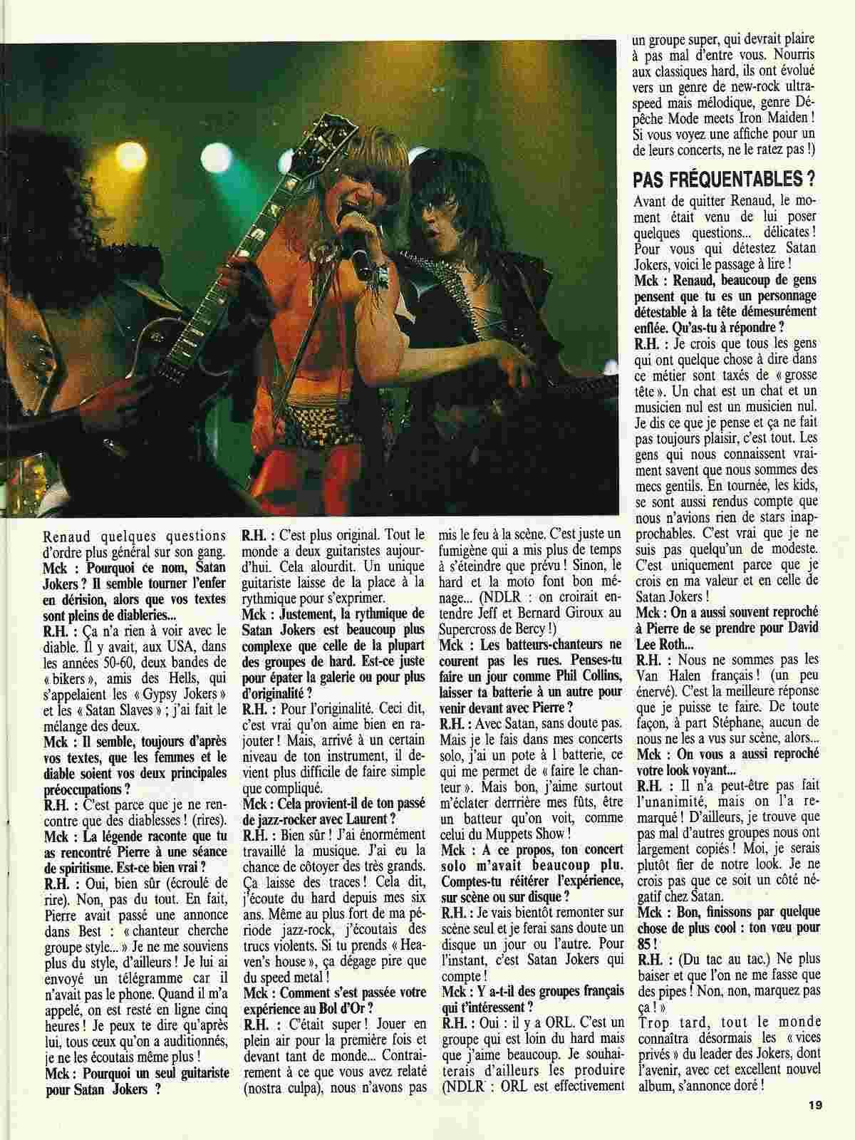 "SATAN JOKERS La rage de vaincre (""Metal Attack"" Mai 1985) Numyri51"