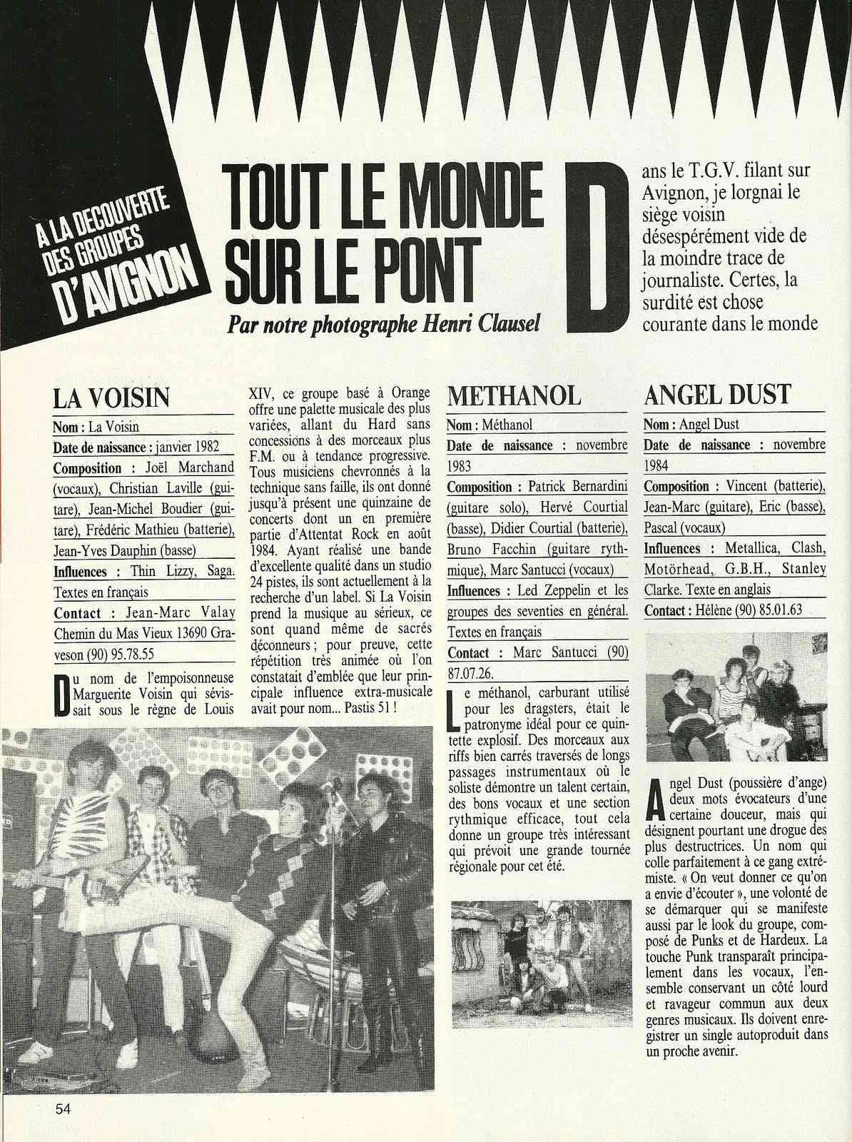 """A la découverte des groupes d'AVIGNON (archive) """"Metal Attack"""" Février 1985"""" Numyri54"""