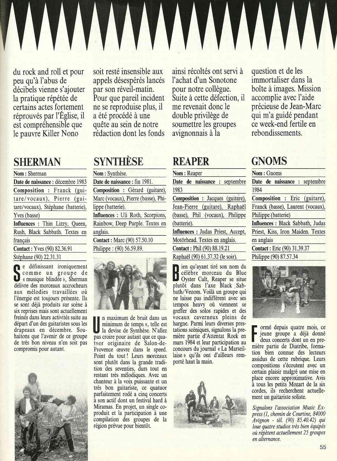 """A la découverte des groupes d'AVIGNON (archive) """"Metal Attack"""" Février 1985"""" Numyri55"""