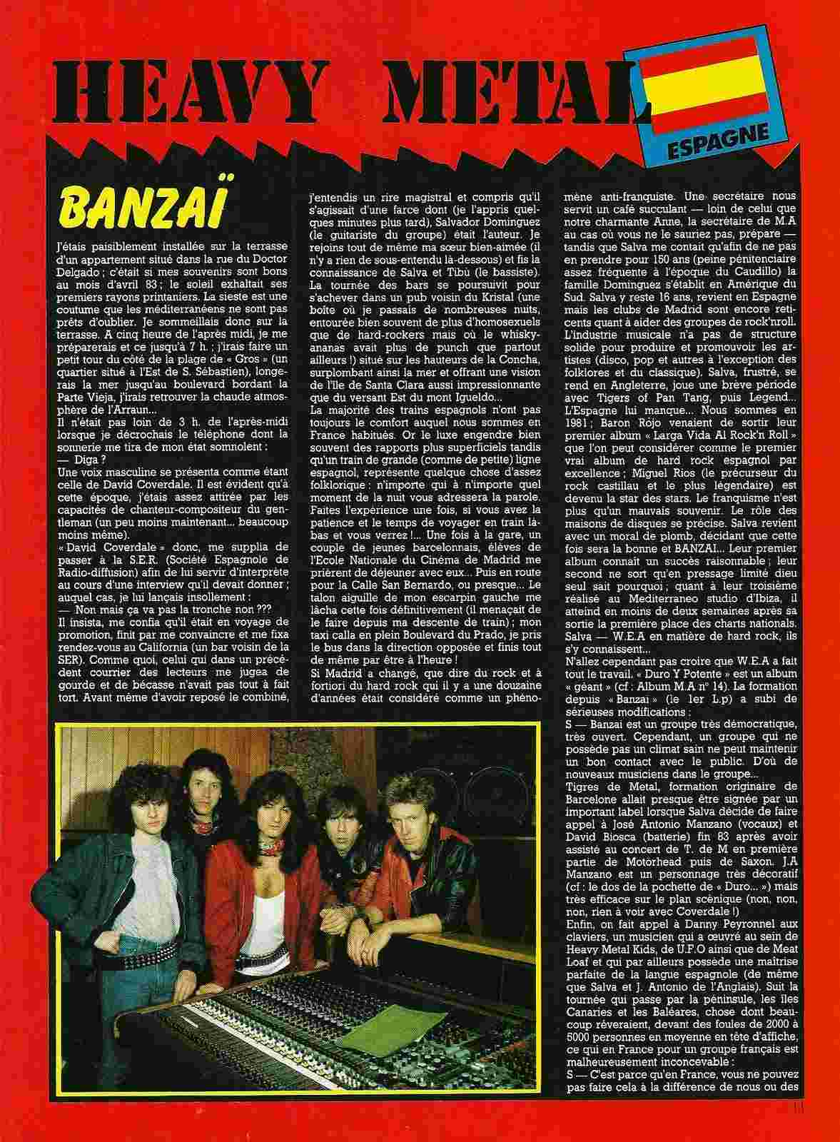 """HEAVY METAL en Espagne (archive) """"Metal Attack"""" Octobre 1984 Numyri57"""