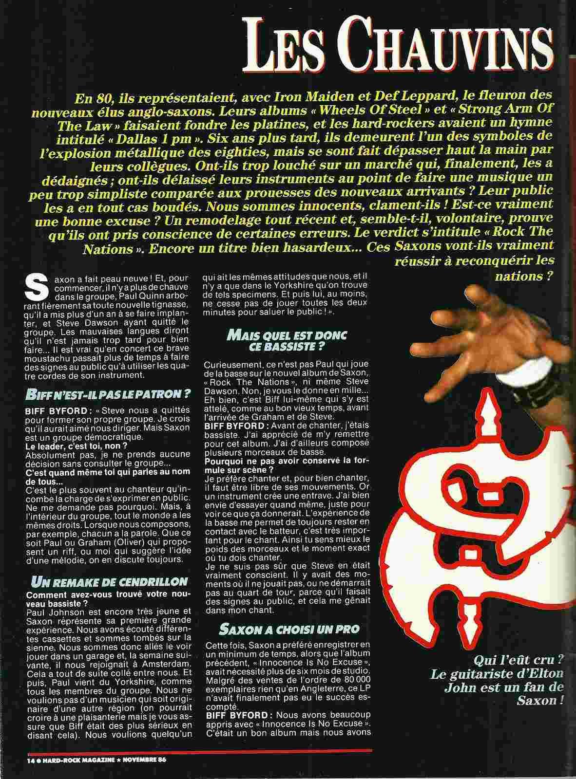 "SAXON Les chauvins (archive) ""Hard Rock Magazine"" Novembre 1986 Numyri62"