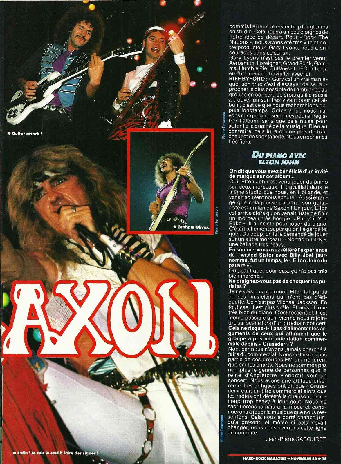 "SAXON Les chauvins (archive) ""Hard Rock Magazine"" Novembre 1986 Numyri63"