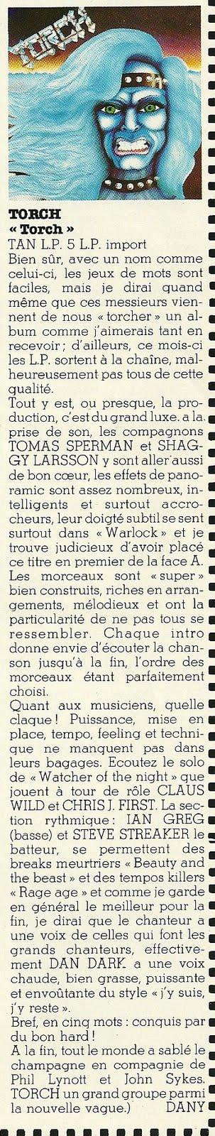 """TORCH 1er album (1984) Chronique """"Enfer Magazine"""" Décembre 1983 Numyri65"""