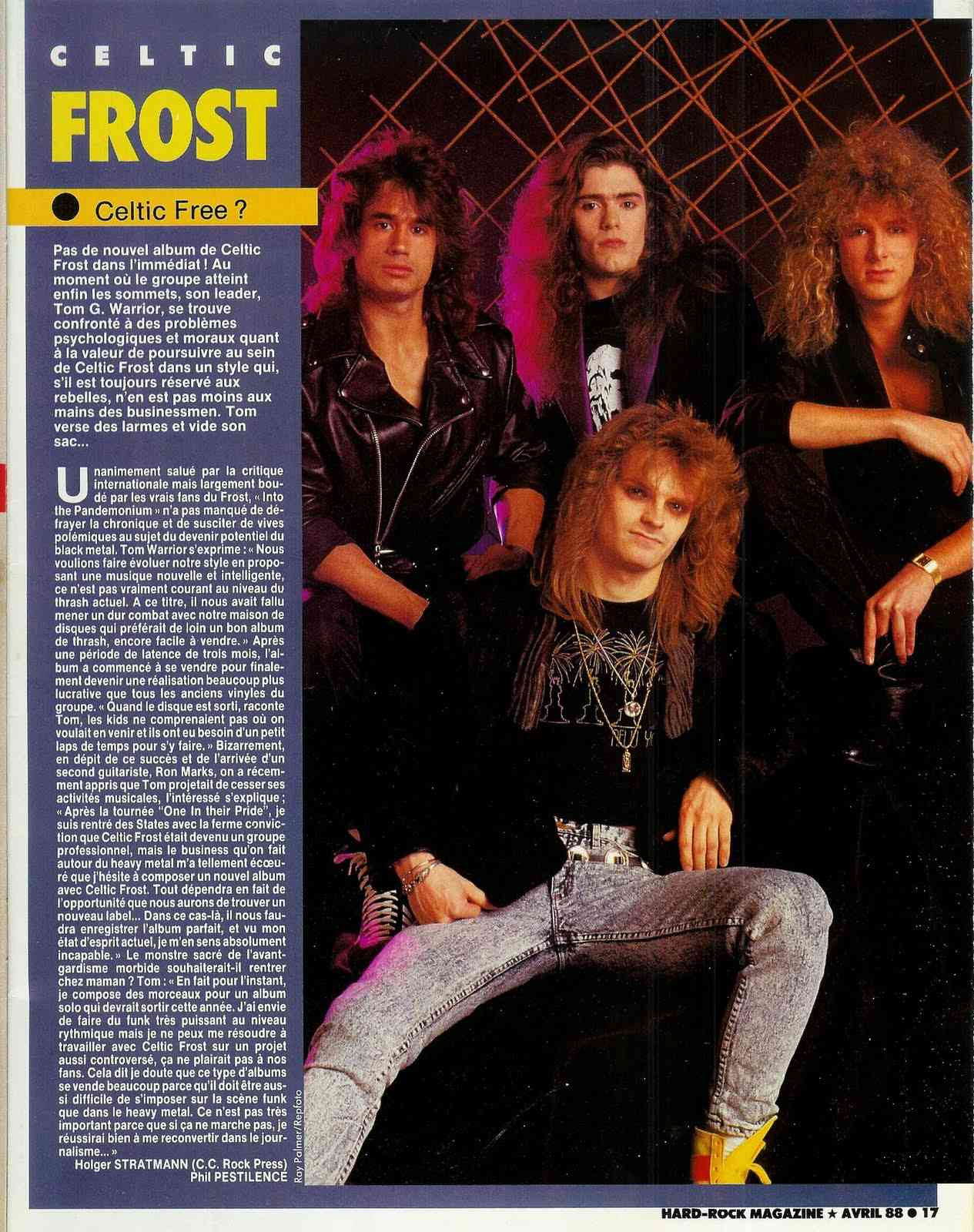 "CELTIC FROST cheveux permanentés ... (Article  ""Hard Rock Magazine"" Avril 1988) Scan0012"
