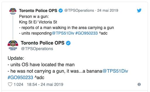 Appel à la police pour personne armée à Toronto Captu342