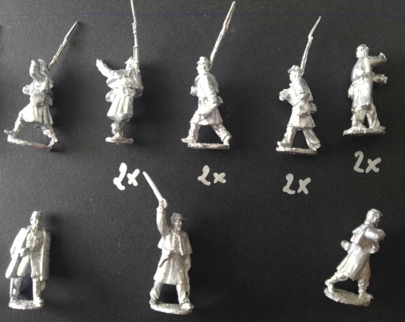 Kickstarter 28mm Miniature Civil War Union Soldiers wearing great coats 510