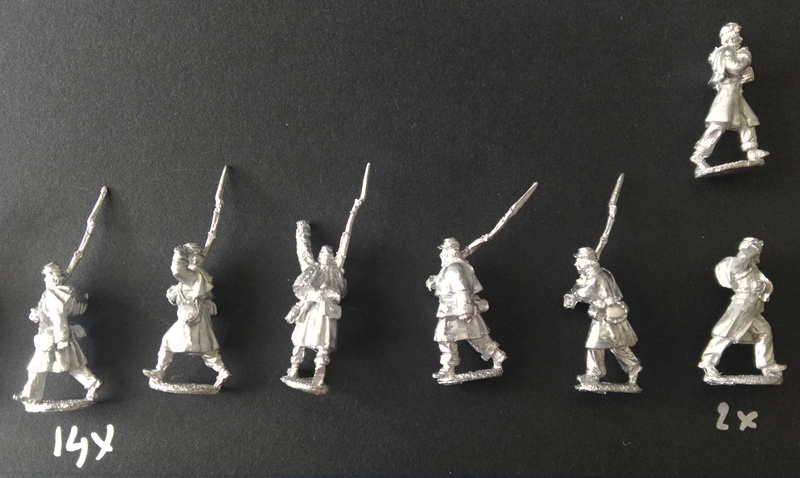 Kickstarter 28mm Miniature Civil War Union Soldiers wearing great coats 810