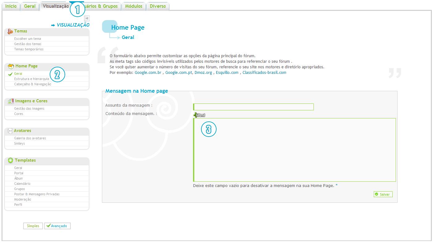 [TUTORIAL] Adicionar lista de seções na mensagem da home-page Untitl22