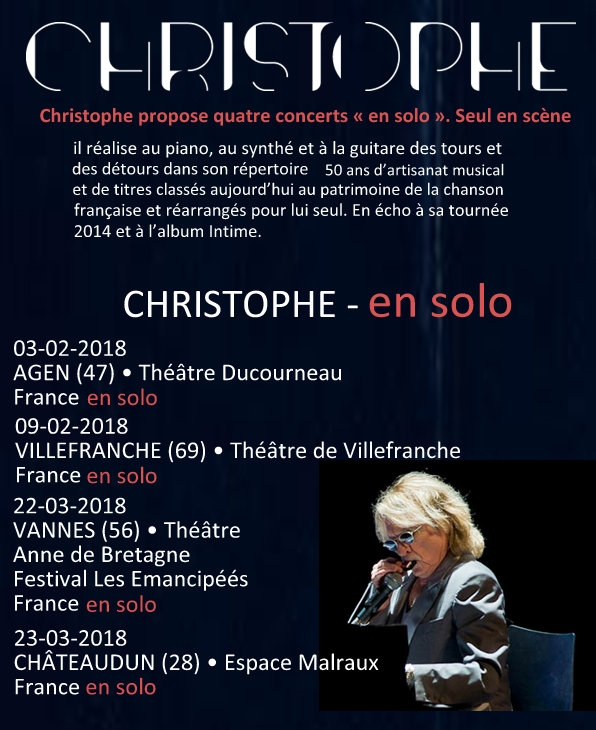 "CHRISTOPHE en tournée ""Les Vestiges du Chaos Tour"" en solo David_10"