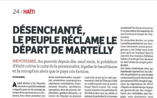 Article Percutant et Deshonorant sur Martelly dans l'Hebdo Art10