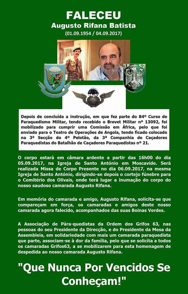 Faleceu o veterano Augusto Rifana Batista, da 3CCP/BCP21 - 04Set2017 August12