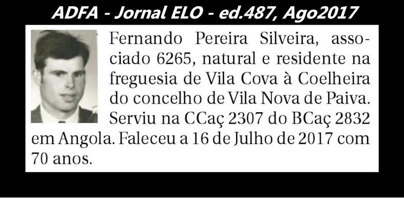 Notas de óbito publicadas no jornal «ELO», da ADFA, de Agosto de 2017 Fernan11