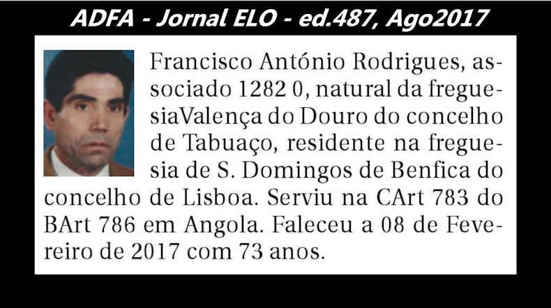 Notas de óbito publicadas no jornal «ELO», da ADFA, de Agosto de 2017 Franci11