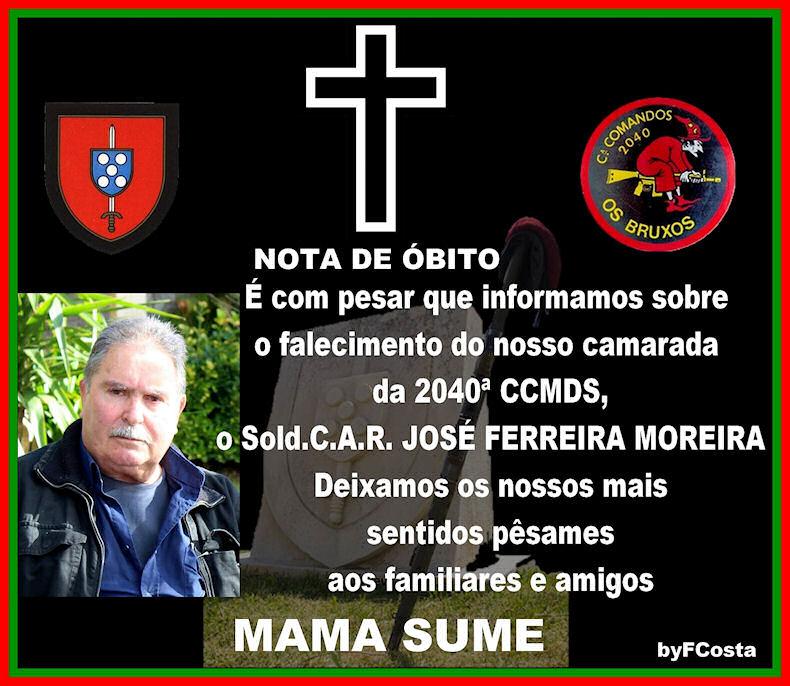 Faleceu o veterano José Ferreira Moreira, Soldado CAR, da 2040.ªCCmds - 15Jul2017 Josy_f12
