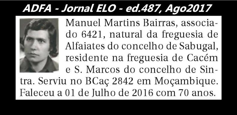 Notas de óbito publicadas no jornal «ELO», da ADFA, de Agosto de 2017 Manuel13
