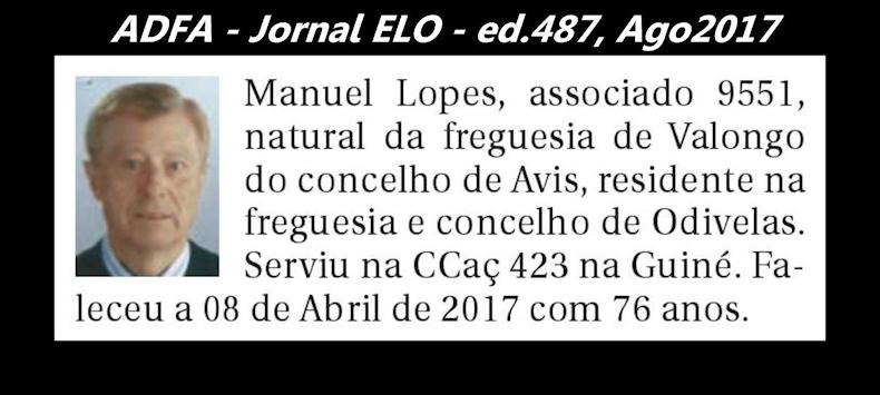 Notas de óbito publicadas no jornal «ELO», da ADFA, de Agosto de 2017 Manuel14