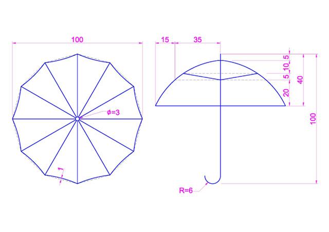 意外看見國外的CAD 3D雨傘建模 Eaca10