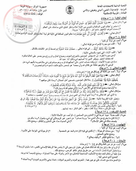 أسئلة امتحان التربية الاسلامية للسادس الاعدادى 2017 الدور الأول 1116