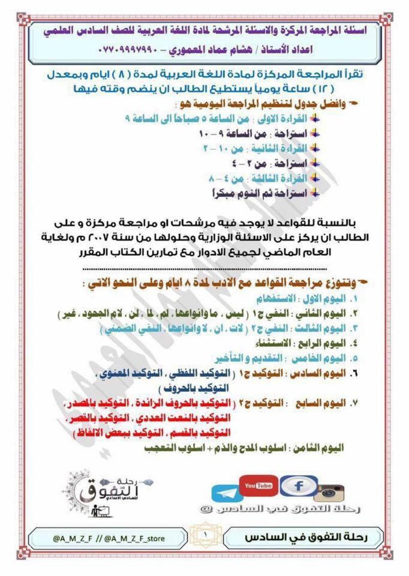 مرشحات اللغة العربية السادس العلمي الاحيائي - التطبيقي 2018 اعداد الاستاذ هشام المعموري 112