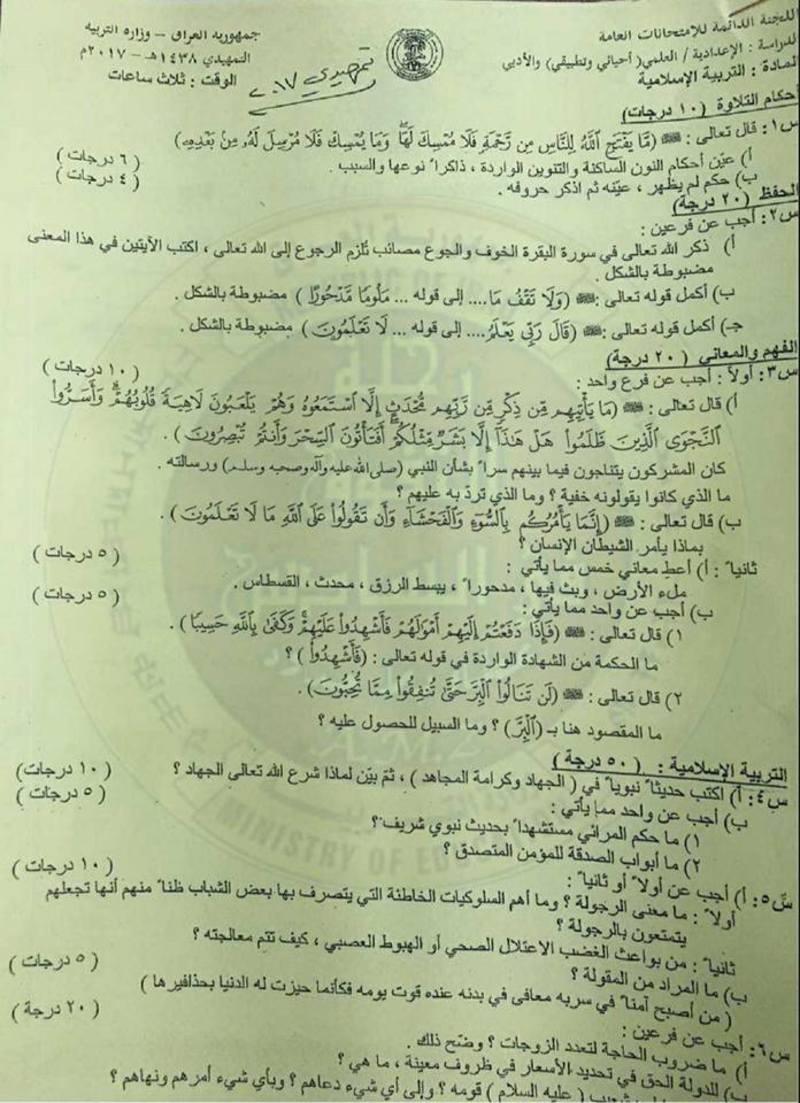 أسئلة الدور الأول والثانى والثالث 2016 والخارجية 2017 فى التربية الاسلامية للسادس الاعداى مع اجاباتها النموذجية  121
